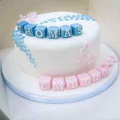 Twins christening cake by BakerLou