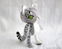 "Amazingly adorable felt ""designer"" toy... Snow Leopard"