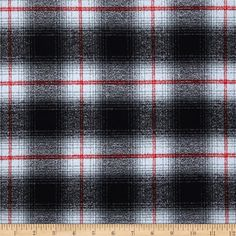 Kaufman Mammoth Flannel Plaid Grey from @fabricdotcom  Designed for Robert Kaufman Fabrics, this soft double napped (brushed on both sides) medium weight (6.4 oz per square yard) flannel is perfect for shirts, loungewear and more! The flannel is a yarn dyed plaid of grey, red and black. Remember to allow extra yardage for pattern matching.