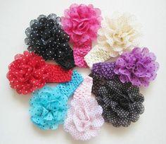 8pcs Girls Baby Toddler Chiffon Headband Polka Dot Hair Band Accessory Headwear