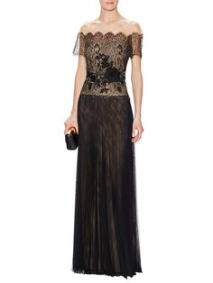 Off the Shoulder Pleated Gown by Marchesa Notte at Gilt