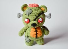 Crochet PATTERN - Frankie the zombie teddy bear by Krawka, Frankenstein's monster, zombies, Halloween, creepy cute crochet
