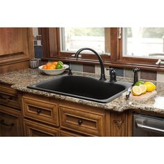 Granite Composite Undermount Kitchen Sinks Black granite composite sink with kohler oil rubbed bronze faucet shop franke 22 in x 33 in graphite single basin granite drop in or undermount kitchen sink at lowes workwithnaturefo