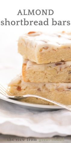 Almond Shortbread Bars an easy shortbread dessert recipe infused with a homemade almond paste and topped with a to-die-for sweet almond glaze easy recipe dessert almond almondpaste bars best glazed Smores Dessert, Dessert Dips, Diy Dessert, Köstliche Desserts, Homemade Desserts, Easy Dessert Bars, Homemade Cheesecake, Sweet Desserts, Cheesecake Recipes