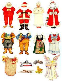 Muñecas recortables de Navidad