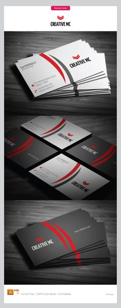 Very nice and elegant corporate business cards design, by using simple vector forms with red color that divide cards on two parts, one for details about the business card owner, while other part is explicit for corporate Logo.