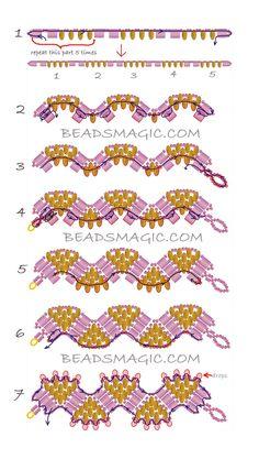 Free Pattern For Beaded Bracelet Princess Crown | Beads Magic #2 - weaving pattern. U need: toho seed beads 11/0 Czech tila beads super duo beads miyuki drops 3,4 mm