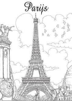 The top 23 Ideas About Paris Coloring Book for Adults - Best Coloring Pages Inspiration and Ideas Printable Adult Coloring Pages, Cute Coloring Pages, Coloring Books, French Crafts, Paris Illustration, Paris Poster, Doodle Art Drawing, Drawing Projects, Architecture Drawings