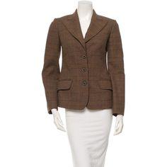 Pre-owned Joseph Blazer (€89) ❤ liked on Polyvore featuring outerwear, jackets, blazers, brown, tartan blazer, brown jacket, brown blazer, joseph jacket and joseph blazer