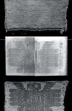 South American handmade textiles from the Andes, Peru, Chile, and the Amazon basin reveal secrets. An 8 1/4–inch-wide piece of cloth, top photograph, was excavated at Huaca Prieta, an archaeological site on the north coast of Peru. No motif was immediately evident on the artifact, but detailed documentation of the weaving pattern, middle, revealed the figure of a spread-winged male condor with a snake in its stomach. Bottom: Retouched photograph simulates the original appearance of the…