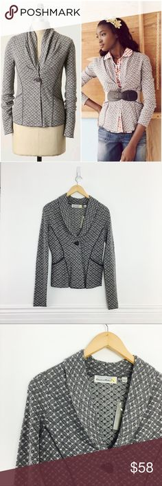 NWT Charlie & Robin cardigan Coyote Star blazer cardigan sweater by Charlie & Robin. Tailored knit jacket emblazoned with a classic native american motif. Single button closure. Front pockets. Wool and acrylic. Size S. NEW WITH TAGS. Anthropologie Sweaters Cardigans