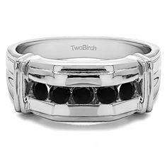 10k White Gold Unique Mens Ring With Black Diamonds