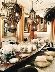 Chic, sophisticated dining room with coffered ceiling and Horchow Scalloped Shade Chandelier. >>> Click image for more details. Bohemian Chic Home, Bohemian Living Rooms, Bohemian Decor, Bohemian Tapestry, Interior Ceiling Design, Bohemian Interior Design, Interior Plants, Cafe Interior, Modern Moroccan