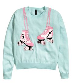 Roller-skate graphic fine-knit sweater in mint green & bubblegum pink. Wide-cut, with dropped shoulders and long sleeves. | H&M Pastels