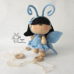 Pebble doll Butterfly - knitting pattern (knitted round). Amigurumi doll Butterfly