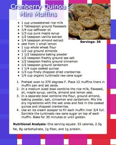 cranberry quinoa mini muffins #recipe www.neverstopfitness.com