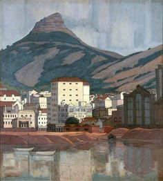 Pierneef - Cape Town and Lions Head Mountain Illustrations, Illustration Art, Picasso, African Paintings, South African Artists, Objet D'art, Mountain Landscape, Impressionism, Landscape Paintings
