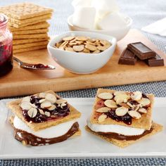 S'Mores are the unofficial sponsor of summer and campfires across the country. Put a fresh twist on this beloved classic by topping off the graham crackers with raspberry jam and Fisher® Sliced Almonds for even more robust flavor!