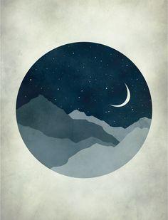 Starry Night Moon and Stars Nursery Decor Kids Wall Art by evesand