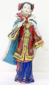 Porcelain Ceramic Dolls Figurine Statue China Oriental Girl Rooster Feeding