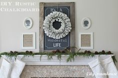 City Farmhouse: My Christmas Mantle & Recycled Project #6-Rustic Palette Board Chalkboard