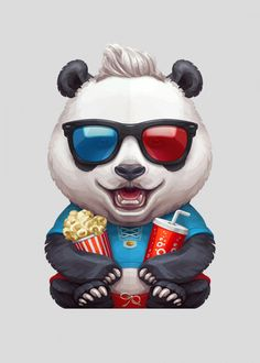 Panda CinephileHappy smiling giant panda bear cub with a bucket of popcorn and a cola cup watching a Bear Cubs, Panda Bear, Animal Posters, Cute Panda, Wood Patterns, Poster Making, New Artists, Cool Artwork, Cinema