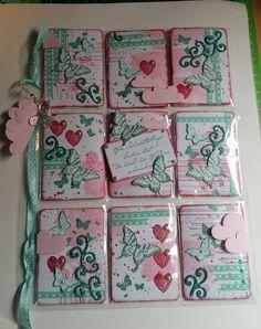Pink Teal Butterflies Scrolls Pocket Letter