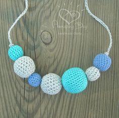 Linen Nursing Necklace Turquoise Modern Crochet by AmazingDay, $22.00