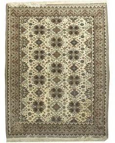 Handmade Rectangular Persian Afshar Area Rug in Beige 61081, 5x6