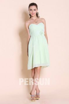A-line Sweetheart Pleated flower knee-length Bridesmaid Dress