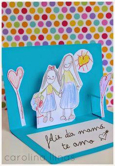 tarjetas_pop_up_hechas_por_los_nin_o – Gift Ideas Kirigami, Diy For Kids, Crafts For Kids, Tarjetas Pop Up, Mother's Day Activities, Preschool Gifts, Mother's Day Diy, Mothers Day Crafts, Pop Up Cards