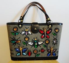 Fabulous Designer 60s Enid Collins of Texas Jeweled Glitter Bugs Bag