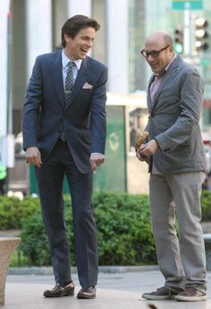 "White Collar--Matt Bomer and Willie Garson BTS<---loved the episode where Mozzie called Neal ""Cheekbones"" was hilarious. <- *Silently sobs in corner because it's over*"