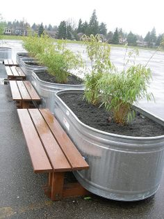 Row of bamboo bench planters by greenwalksblog, via Flickr