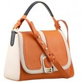 The white leather trimmings offer a highlighting touch to this smart orange calfskin leather shoulder bag