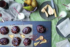 pear and chocolate doughnuts