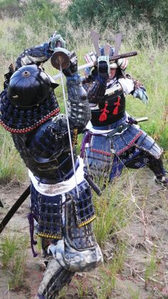 Samurai warriors in armor. Samurai Weapons, Samurai Swords, Bushido, Katana, Ju Jitsu, Japanese Warrior, Sword Fight, Arm Armor, Kendo