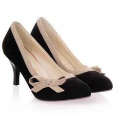 Sweet Bow and Bordered Design Women's Suede Pumps