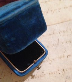 Gorgeous sapphire blue velveteen covering ring box.Straight from the Paris brocante.Appx 1.5