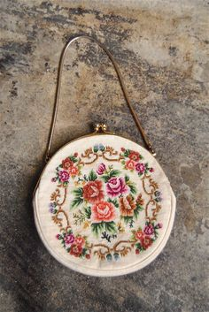Vintage purse 1950s floral needlepoint by youngandukraine on Etsy