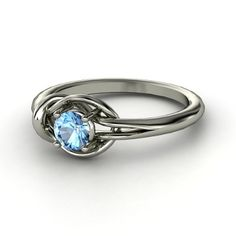 Round Blue Topaz Sterling Silver Ring | Hercules Knot Ring | Gemvara