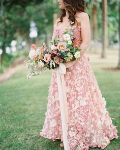 Wedding Dresses Inspiration : Bride Dons Pink Reception Dress for Romantic Lowcountry Wedding Country Wedding Dresses, Colored Wedding Dresses, Wedding Colors, Wedding Gowns, Bridal Gowns, Boho Wedding, Floral Wedding, Wedding Bouquets, Wedding Reception