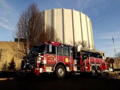 Hershey, Pa Fire (Engine 48-1) in front of Milton Hershey School Founders Hall  -  Engine 48-1 ia a 2006 Seagrave 2000 gpm. pump, 750 gallon tank, 30 gallon Class A foam tank, 30 gallon Class B foam tank. Crosslays consist of two 1 3/4 inch, one 2 inch, and one 2 1/2 inch attack lines. The hose bed contains both 3 and 5 inch hose. A 1250 gpm. Akron remote-control deluge gun is mounted behind the cab. An additional portable deluge set is also carried.