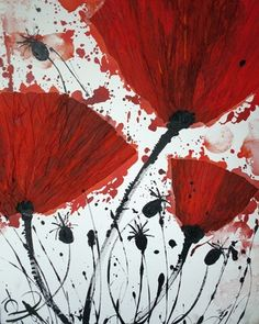 "Saatchi Online Artist Irina Rumyantseva; Mixed Media, ""Red Poppies"" #art"