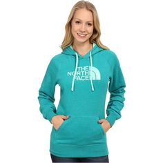 The North Face Half Dome Hoodie Women's Sweatshirt ($35) ❤ liked on Polyvore featuring tops, hoodies, green, pullover hoodie, pullover hoodies, hooded sweatshirt, green hoodie and sweater pullover