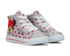 The little gal will love the Minnie Mouse High Top Sneaker.Canvas upper in a casual high top sneaker styleSparkly toe capPolka dots and Minnie Mouse with bow detailMinnie Mouse face has light-up featureSmooth lining, cushioning insoleStriped midsole with toe bumperTraction outsole