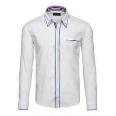 Pánska biela bavlnená košeľa s dlhým rukávom - fashionday.eu Motorcycle Jacket, Shirt Dress, Mens Tops, Jackets, Shirts, Dresses, Fashion, Down Jackets, Vestidos