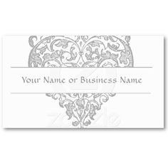 Heart Leaves Monogram Business Card Template