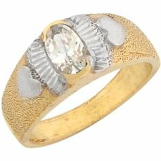 10k Two Tone Real Gold White Oval CZ Heart Lovely Newborn Baby Ring Jewelry Liquidation. $112.98. Comes with FREE fancy black leatherette ring box!. Made in USA!. Made with Real 10k Gold!