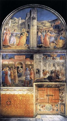 View of east wall of the chapel via Fra Angelico  Medium: fresco, wall